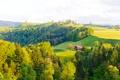 Картинка лес, деревья, дом, холмы, поля, Швейцария, луга