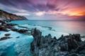 Картинка море, пейзаж, скалы, рассвет
