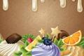 Картинка абстракция, ягоды, сладость, шоколад, сливки, пирожное, фрукты