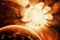 Картинка hand of destiny, рука, планеты, солнце