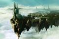 Картинка небо, город, высота, арт, в облаках
