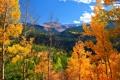 Картинка осень, небо, облака, деревья, горы