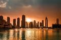 Картинка закат, город, Dubai