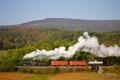 Картинка осень, пейзаж, ретро, паровоз, железная дорога, steam