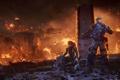 Картинка девушка, город, оружие, огонь, монстры, солдаты, руины