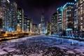 Картинка Зима, Огни, Ночь, Река, Чикаго, Небоскребы, Здания