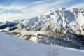 Картинка дом, лыжник, спуск, природа, горы, снег, отдых