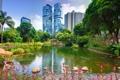 Картинка деревья, природа, пруд, парк, фото, дома, Гонконг