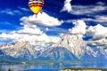 Картинка небо, облака, пейзаж, горы, воздушный шар, Вайоминг, USA