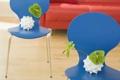 Картинка листья, синий, зеленый, комната, интерьер, кресло, квартира