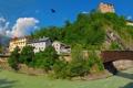 Картинка город, река, гора, дома, Австрия, архитектура, houses