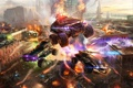 Картинка город, война, взрывы, джип, танки, MWO, Metal War Online