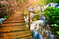 Картинка ручьи, вода, старый мост, водопад