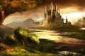 Картинка камни, грибы, пейзаж, Trine, лес, вода, замок