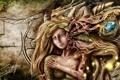Картинка лес, друид, кора, девушка, фэнтези, листья, стена