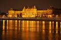 Картинка небо, ночь, огни, река, дворец, Венгрия, Будапешт