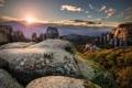 Картинка пейзаж, горы, природа, замок, утро
