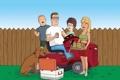 Картинка газон, забор, собака, семья, Bobby, Hank, Luanne