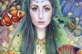Картинка взгляд, вода, девушка, рыбы, волосы, арт