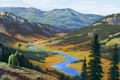 Картинка лес, горы, зеленый, река, рисунок, динозавр, мальчик