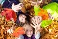 Картинка осень, листья, радость, природа, дети, девочки, мальчик