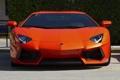 Картинка оранжевый, парковка, lamborghini, передок, orange, parking, aventador