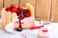 Картинка ягоды, еда, печенье, клубника, тарелка, ложка, торт