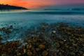 Картинка закат, озеро, камни, берег, гора