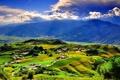 Картинка горы, холмы, вид, поля, дома, долина, деревня