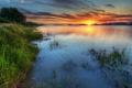 Картинка трава, закат, озеро, берег, даль, рябь