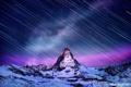Картинка звезды, снег, ночь, гора, выдержка