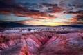 Картинка зима, закат, горы, каньон