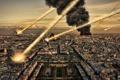 Картинка пожар, город, метеориты, дым, огонь