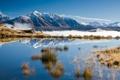 Картинка небо, снег, горы, озеро, отражение, пейзажи, утро