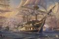 Картинка мачты, пушки, живопись, арт, корабли, паруса, море