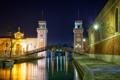 Картинка Венеция, мост, ночь, огни