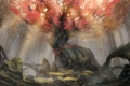 Картинка осень, лес, листья, птицы, корни, камни, дерево