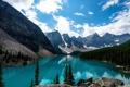 Картинка лес, lake louise, sky, небо, Канада, mountains, Лейк-Луиз