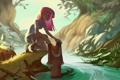 Картинка лес, девушка, река, кровь, арт, арбалет