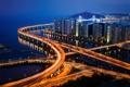 Картинка город, огни, вечер, Южная Корея, Пусан