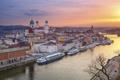 Картинка река, дома, Германия, Бавария, собор, Дунай, Пассау