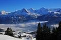 Картинка зима, облака, снег, деревья, горы, Швейцария, домики