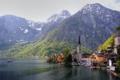 Картинка горы, озеро, побережье, дома, Австрия, церковь, Austria