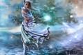 Картинка девушка, ветер, фэнтези, арт, хвост, ушки