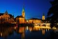 Картинка ночь, река, дома, Швейцария, башни, архитектура, Switzerland