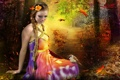 Картинка коса, дорожка, фантастика, девушка, листья, платье, осень