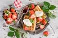 Картинка ягоды, еда, завтрак, клубника, вафли, джем, пломбир