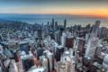 Картинка закат, побережье, здания, Чикаго, панорама, Chicago, небоскрёбы