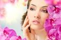 Картинка взгляд, цветы, лицо, орхидея