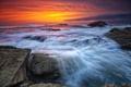 Картинка камни, берег, небо, рассвет, океан, пейзаж